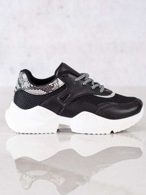 Čierne sneakersy Snake Print