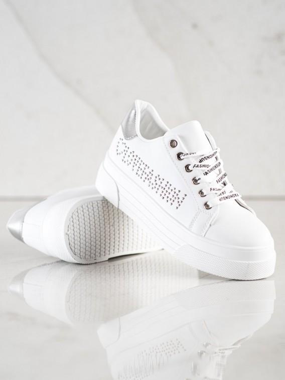 Biele tenisky na platforme Fashion