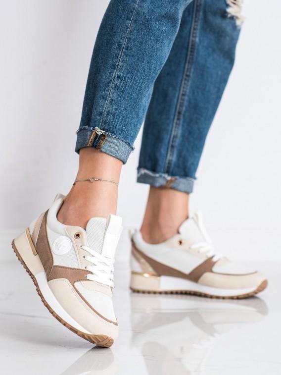 Módne bielo-béžové sneakersy