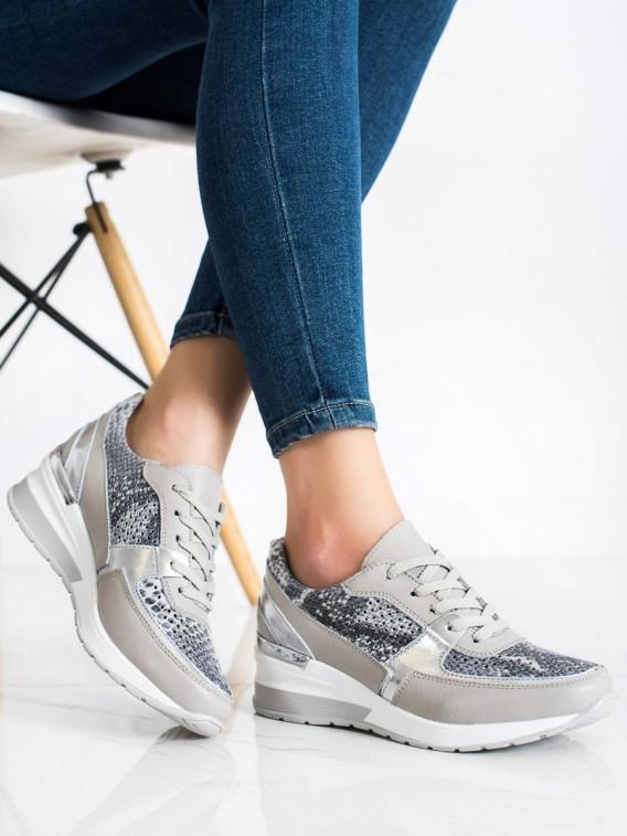 Šedé sneakersy z kože s hadím vzorom