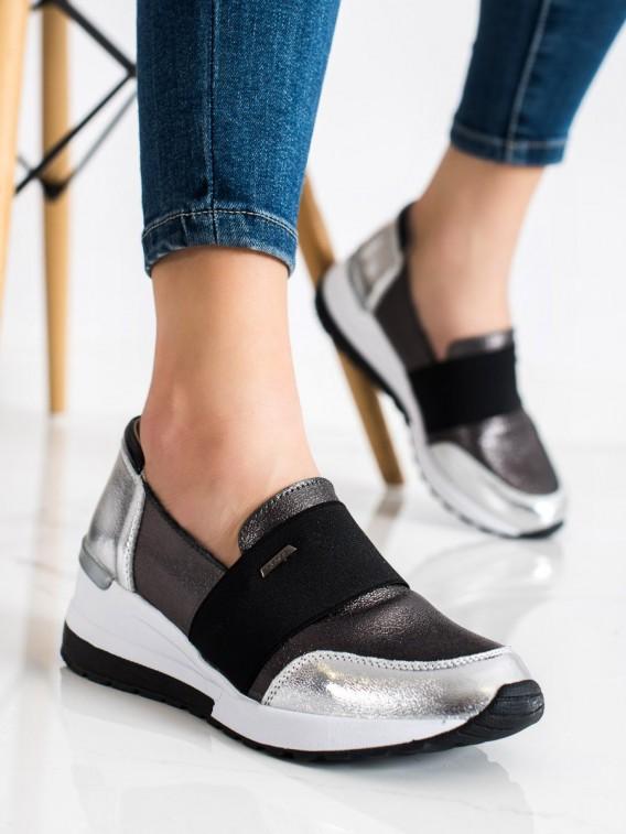 Strieborné sneakersy z kože
