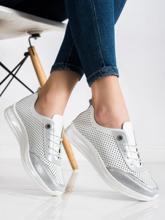 Bielo-strieborné sneakersy z kože
