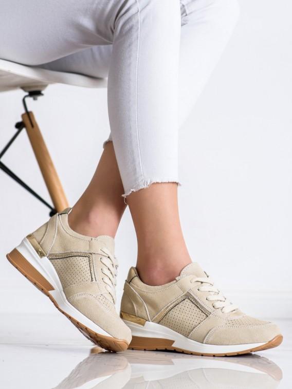 Béžové sneakersy z kože