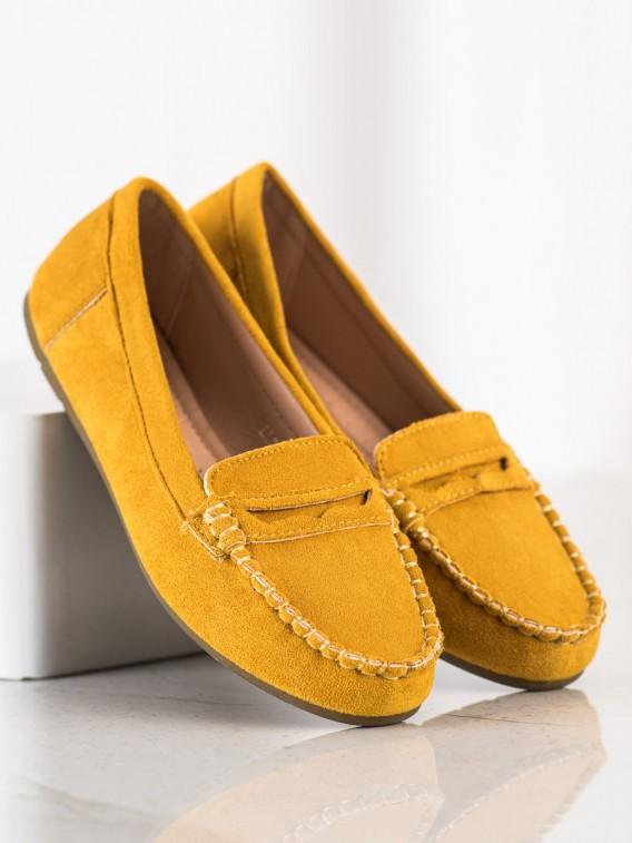 Žlté semišové mokasíny