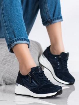 Tmavomodré sneakersy z kože
