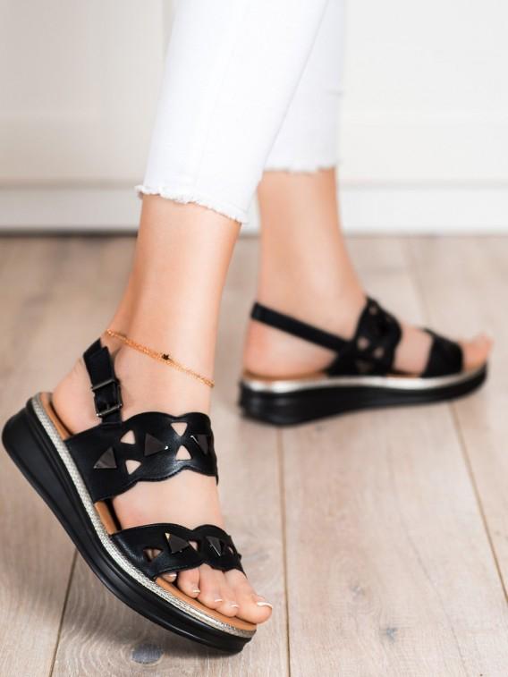Čierne sandálky na platforme Sergio Leone
