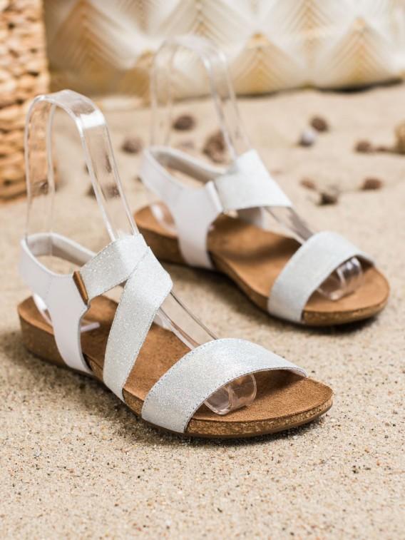Kožené sandálky s brokátom