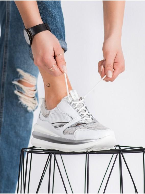 Bielo-šedé sneakersy z kože
