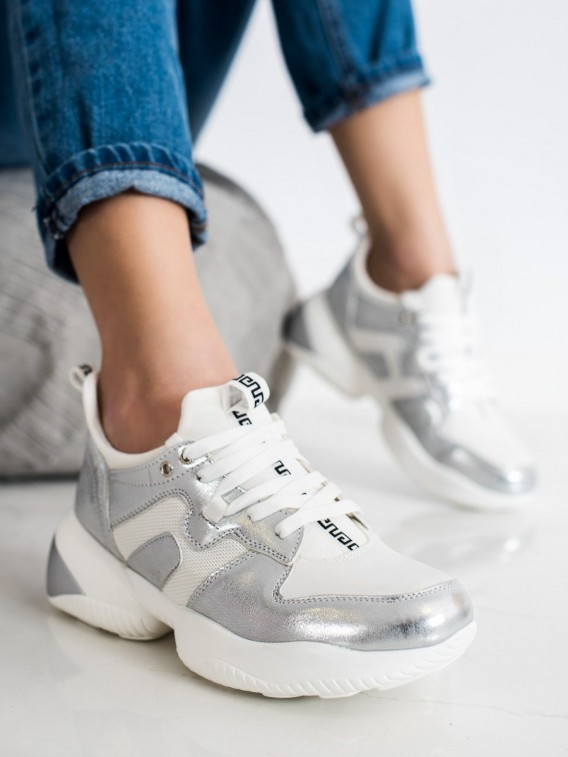 Bielo-strieborné sneakersy