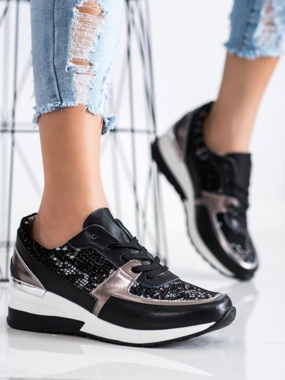 Čierne sneakersy z kože s hadím vzorom