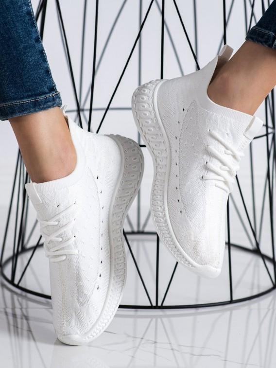 Biele textilné sneakersy