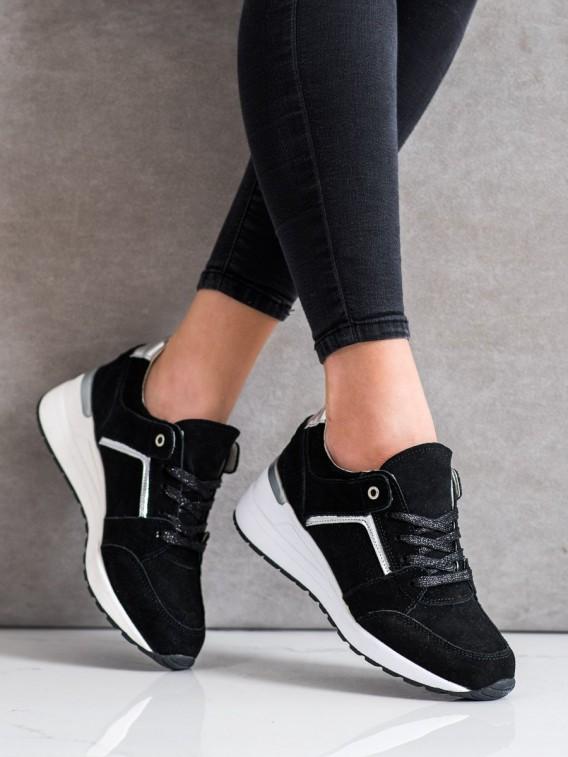 Čierne topánky športové z kože