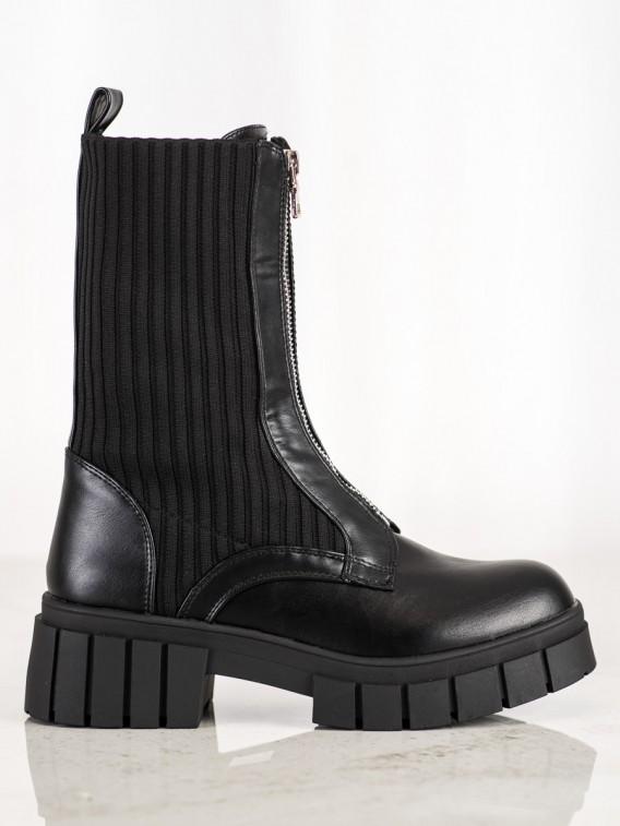 Čierne workery s ponožkou